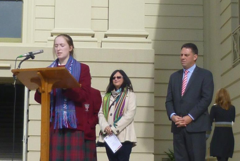 Clonard College student Olivia presenting at Timor-Leste Independence day ceromony
